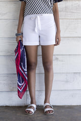 House of Lonali Linen Beach Shorts - White