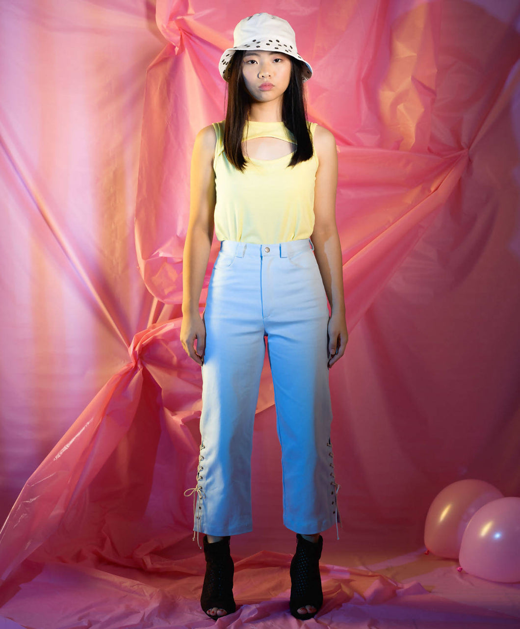 High waisted Straight leg Light blue Trousers