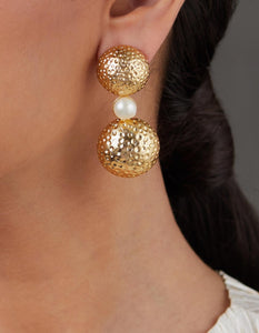 double Hammered gold earring