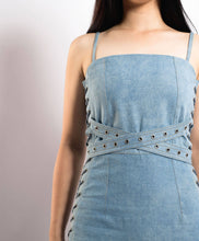 Load image into Gallery viewer, Denim Spaghetti Strap Lace-up Maxi Dress