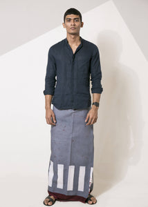 Grey Sarong with White Square Print