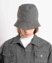 Load image into Gallery viewer, Navy Blue and White Striped Denim Bucket Hat