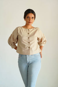 MENDES CEYLON - Beige Alice Crop Top