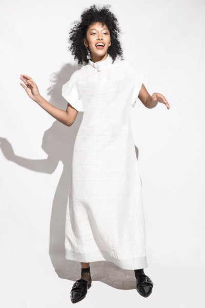 Handwoven Metalic Dinner Dress- White