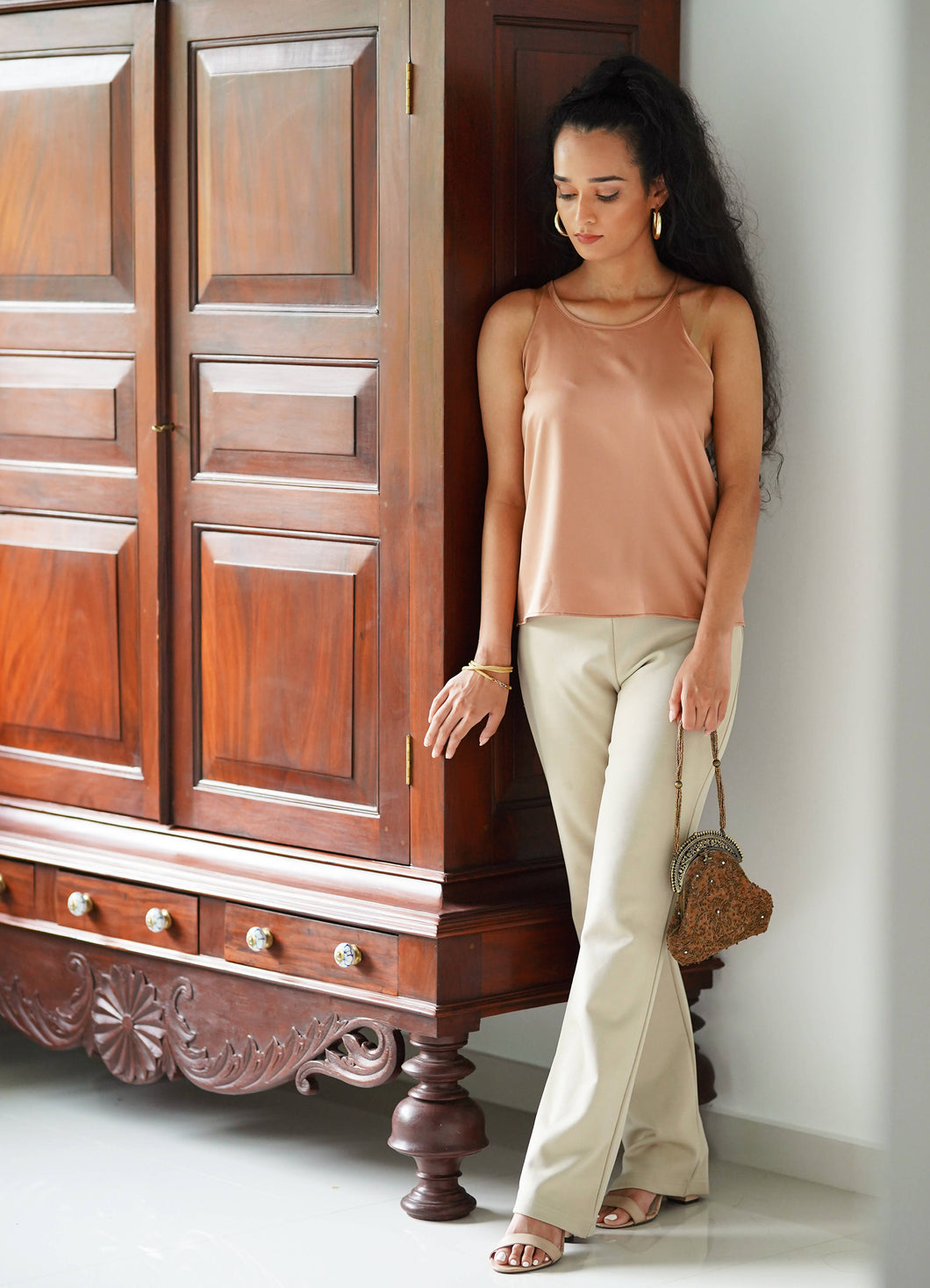 TAPROBANA COPPER SAND CAMISOLE TIE UP TOP