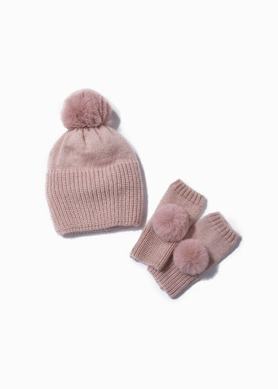 Shiny Knit Ribbed Pom Pom Hat and Fingerless Gloves Blush set