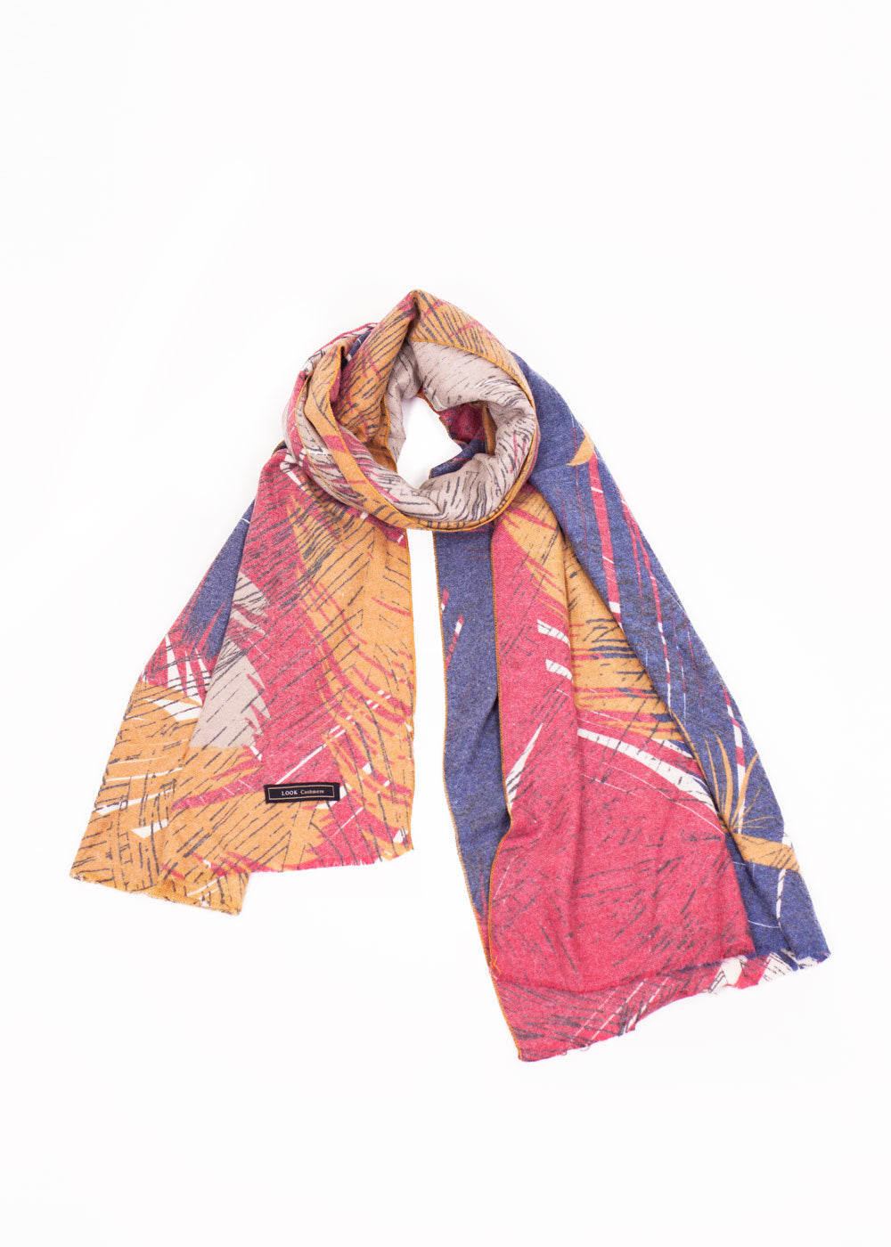 19367e92b74 Cashmere Blended Feather Print Scarf – Look By M