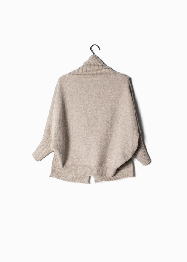 Cable Pocket Shrug Cape Cardigan