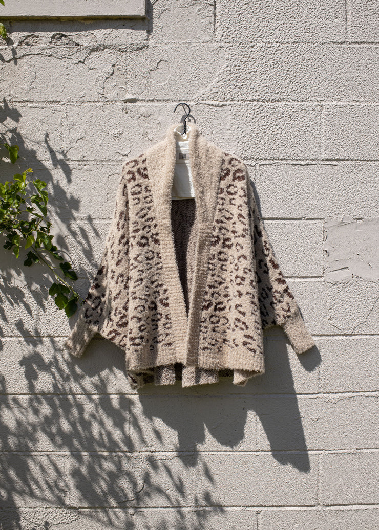 Leopard Shawl Collared Teddy Cape Cardigan
