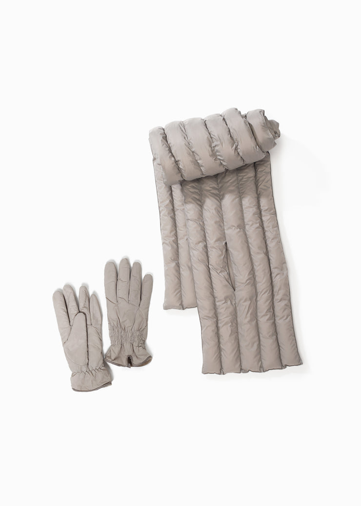 Basic Puffer Scarf and Shirring Puffer Gloves Grey set