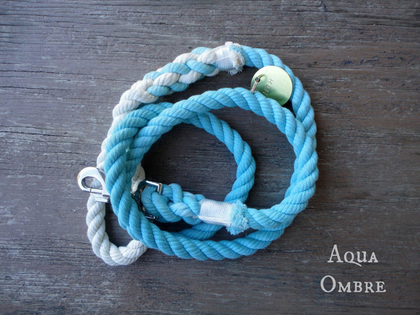 Aqua Ombre Rope Leash