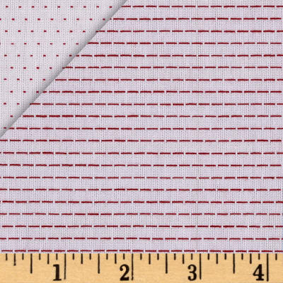 End of BOlt: 3 yards of  Stitched Double Sided White with Red Stitching Chambray Woven