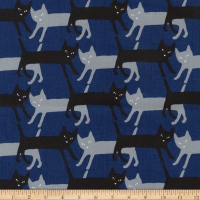 Kaufman Sevenberry Mini Prints Royal Cats Woven