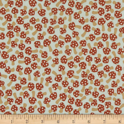 Kaufman Berry Season Mushrooms Desert Green Fabric Woven