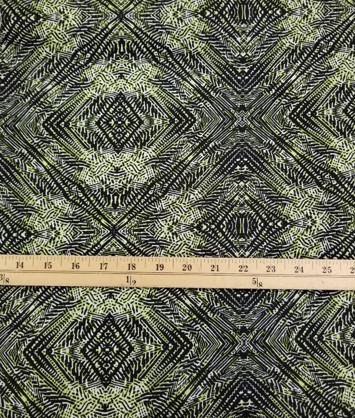 End of Bolt: 3/4th Yards of Lime Green Trinidad Designer Rayon Challis Woven- Remnant