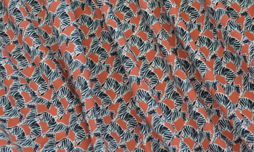 End of BOlt: 1 yard of Famous Maker Zebras On the Frock Rayon Challis Woven