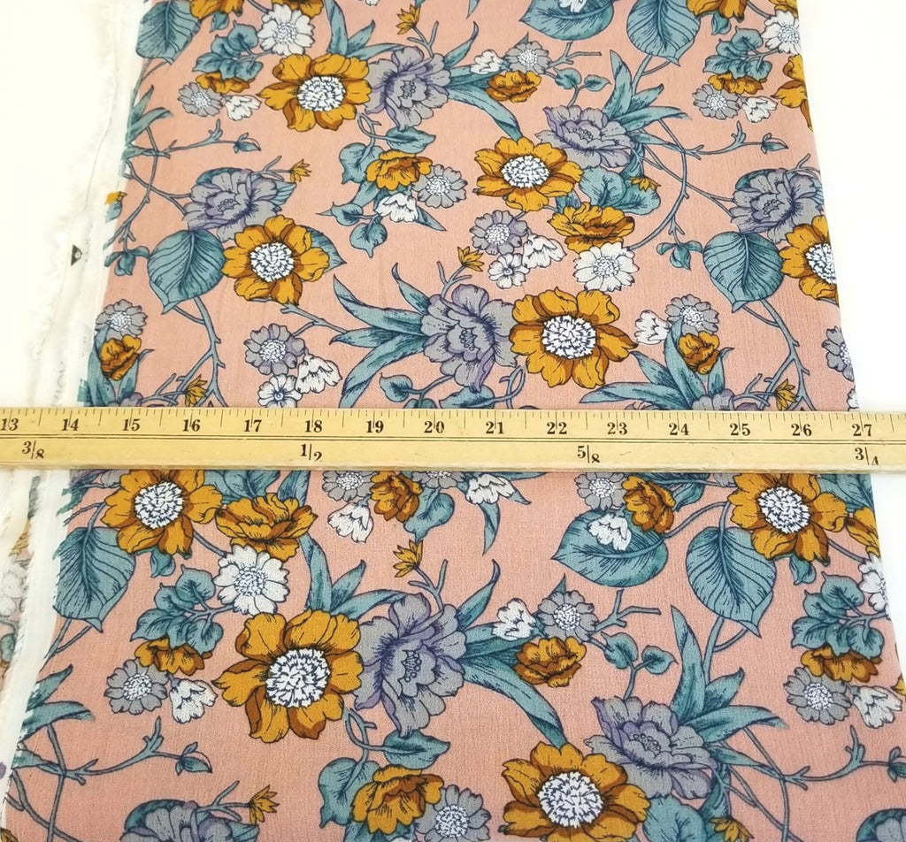 End of BOlt: 1 yard of Designer Deadstock Rayon Gauze  Mustard Floral Woven- remnant