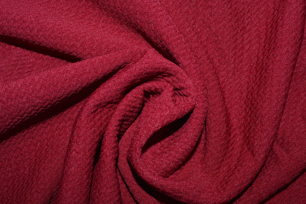 Burgundy wine red bullet textured knit. Liverpool, garment fabric sold by the yard