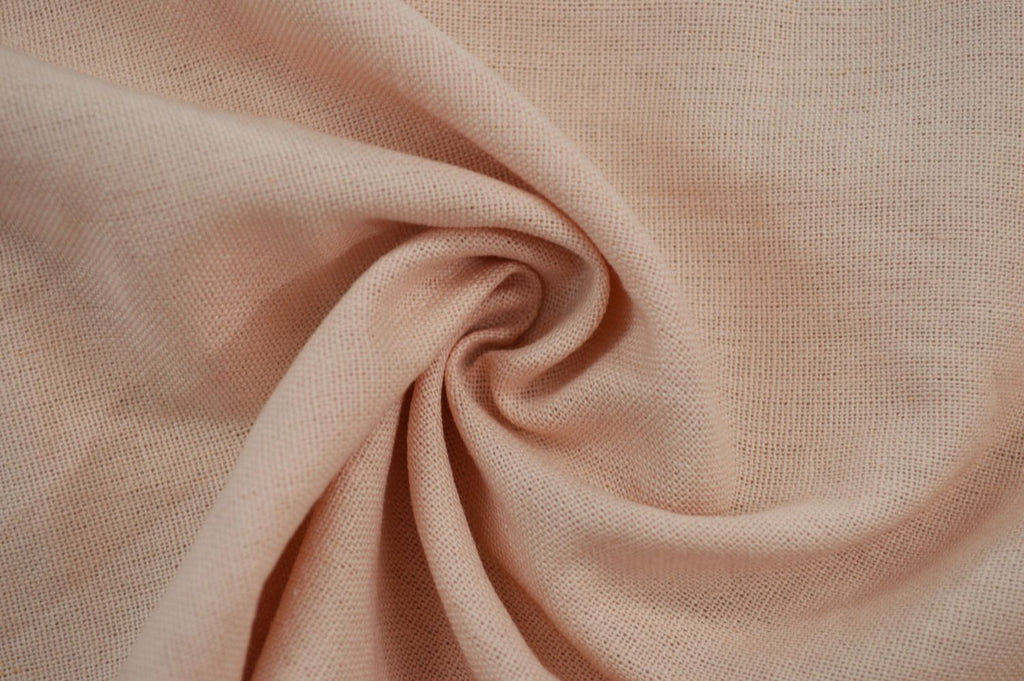 End of Bolt: 1-7/8th yards of Designer Rayon Linen Blend Solid Blush Peach Woven