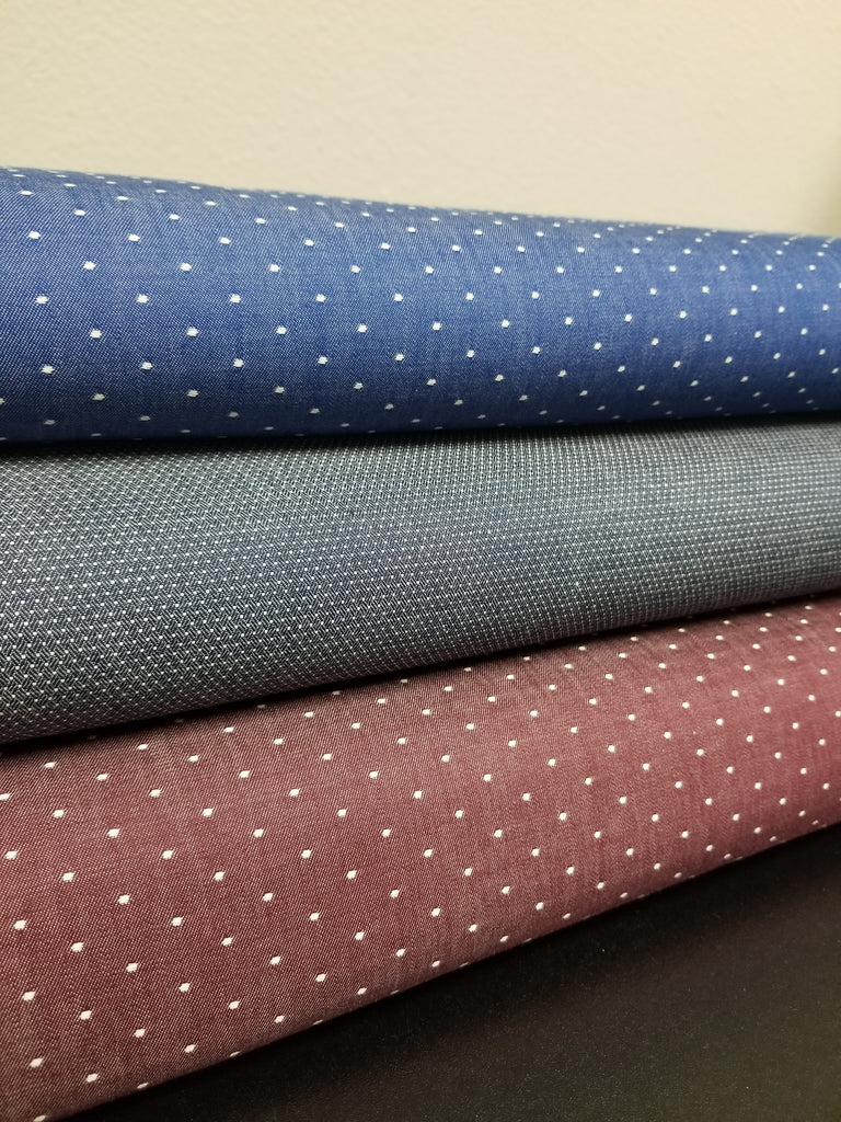 Cotton Burgundy Chambray Dots
