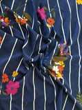 Double Brushed Navy Vertical Pinstripe Retro Floral Knit