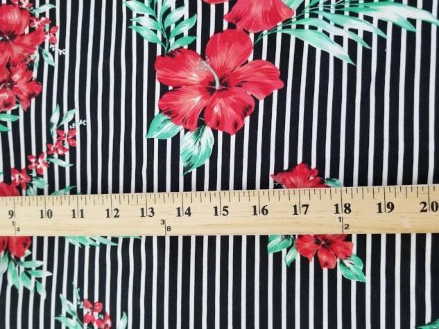 End of Bolt: 4 yards of Double Brushed Small Stripe Black Hibiscus Red Knit