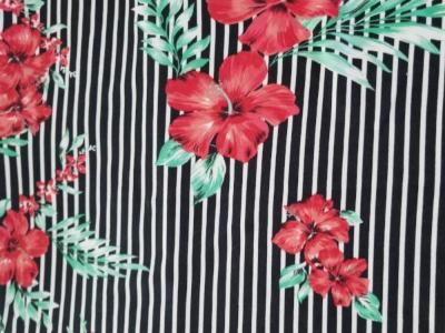 End of Bolt: 3.5 yards of Double Brushed Small Stripe Black Hibiscus Red Knit