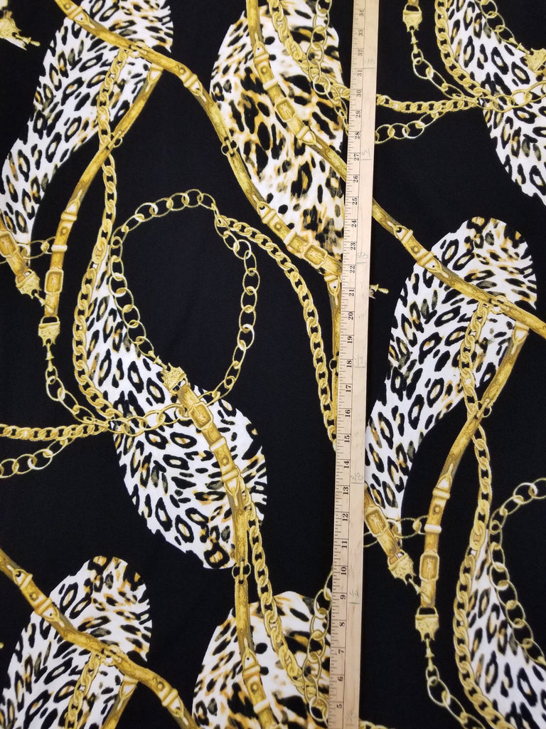 End of Bolt: 4 yard of Zara Black and Gold Print Liverpool Knit