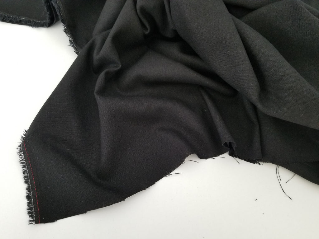 End of BOlt: 2-7/8th yards of Designer Rayon Linen Blend Solid Black Woven