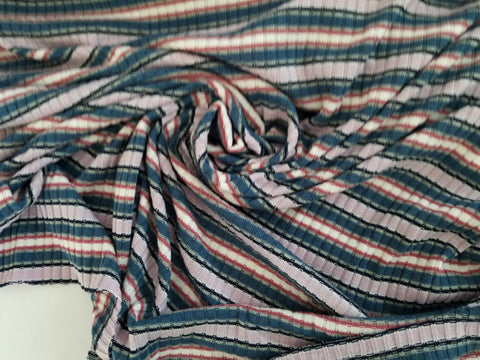 End of Bolt: 3.5 yards of  Designer Rib Soft Stripe  Knit
