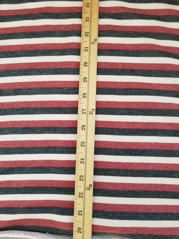 End of Bolt: 3 yards of Designer Stripe Red French Terry Knit