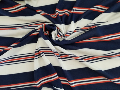 End of BOlt: 2-1/8th yards of Designer Mara Sweater Stripe Orange and Blue Sweater Hacci Knit