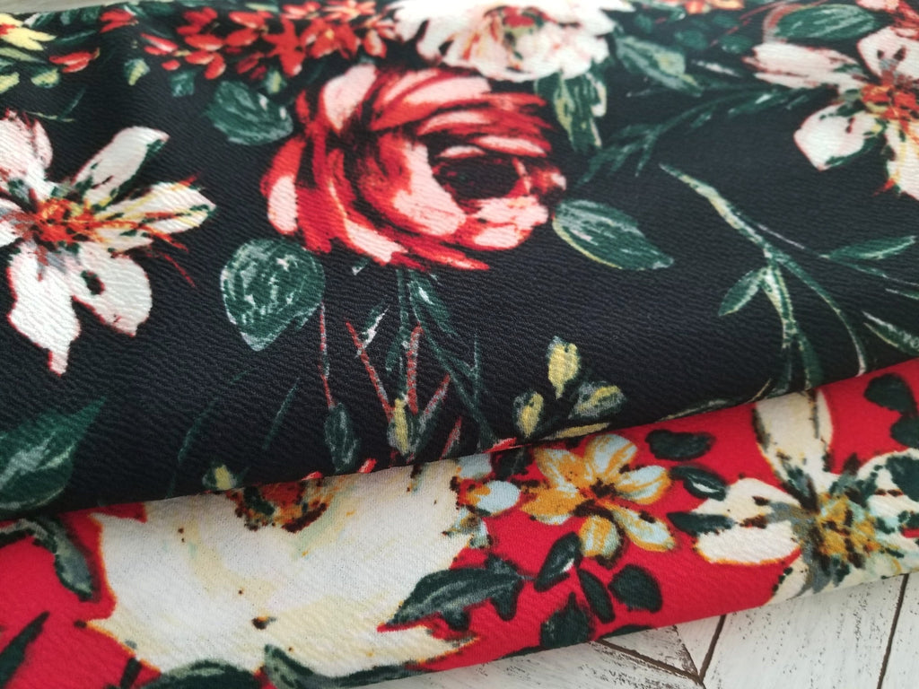 End of bolt: 2.5 yards of Liverpool Wildflowers Black Floral Knit