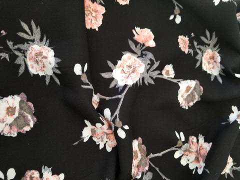 End of Bolt: 1-5/8th yards of Sophie Black Floral Rayon Challis Woven