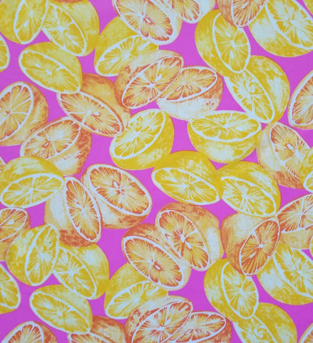 End of Bolt: 1-1/4th yards of Lemon Print Nylon Spandex Active Swim Knit