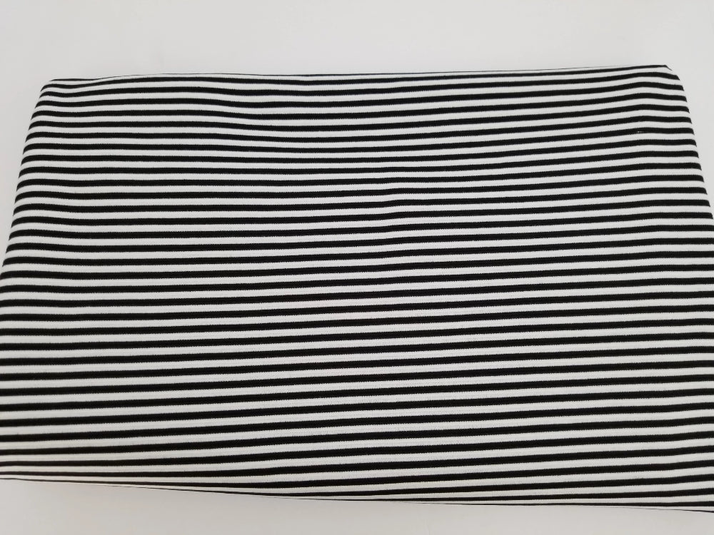 End of BOlt: 5 yards of Famous Maker Premium Heavier Textured Rib Black & White Stripe Knit