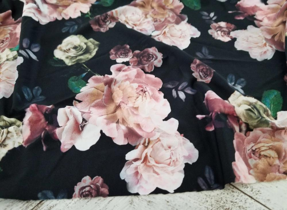 Famous Maker Romantic Black Floral Performance & Swim Knit