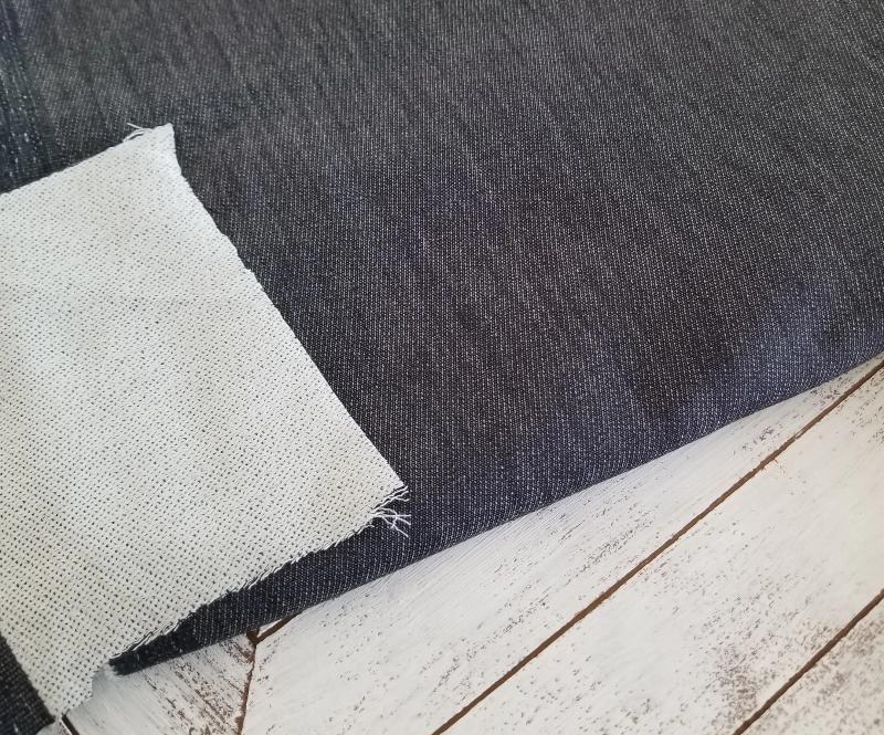 End of Bolt: 2.5 yards of Famous Maker Fashion Denim Stretch Tencel Blend with Terry Backing Woven