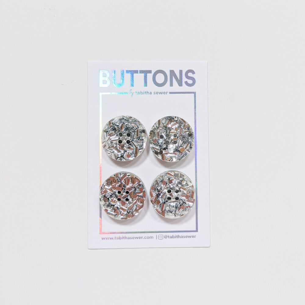 Notions: Silver Glitter Confetti Circle Buttons- .81 inch- Pack of 4 Buttons