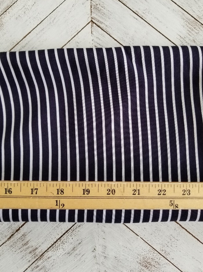 End of Bolt: 4-3/8th yards of Dark Navy Small Stripe Rayon Challis