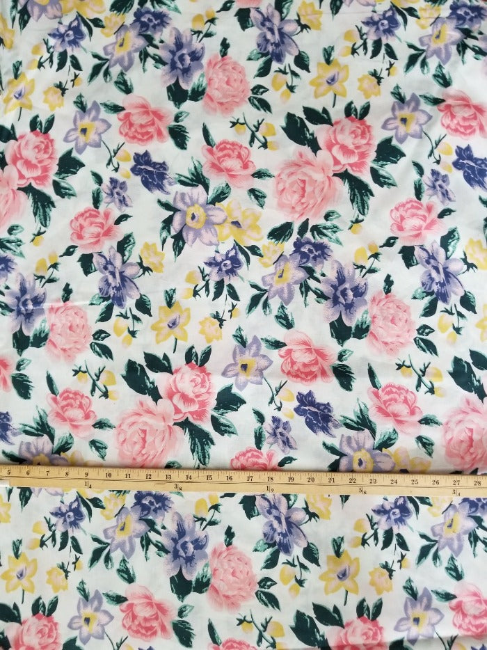 End of Bolt: 4 yards of Daydreamer Floral Cotton Linen Woven