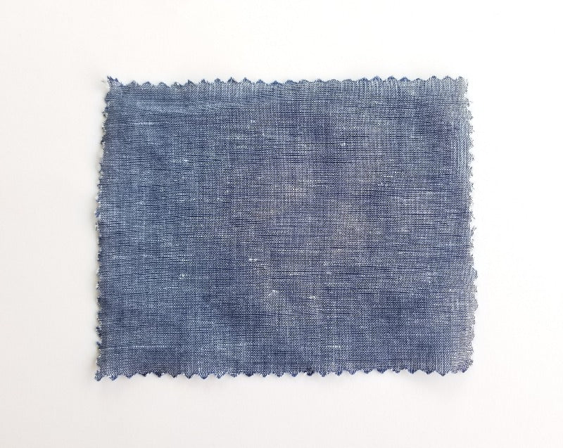 End of Bolt: 1-5/8th yards of Designer Cotton Linen Blend Chambray Woven- 4 oz
