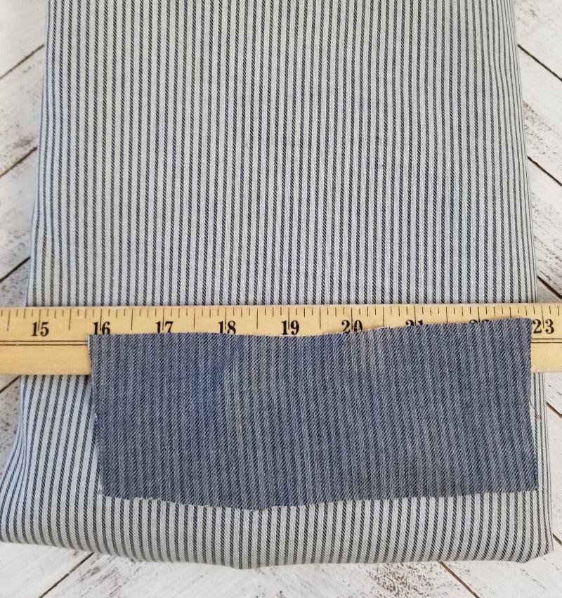 End of Bolt: 2-5/8th yards of Designer Emmett Railroad Stripe Shirting Woven- 4.3 oz - Remnant