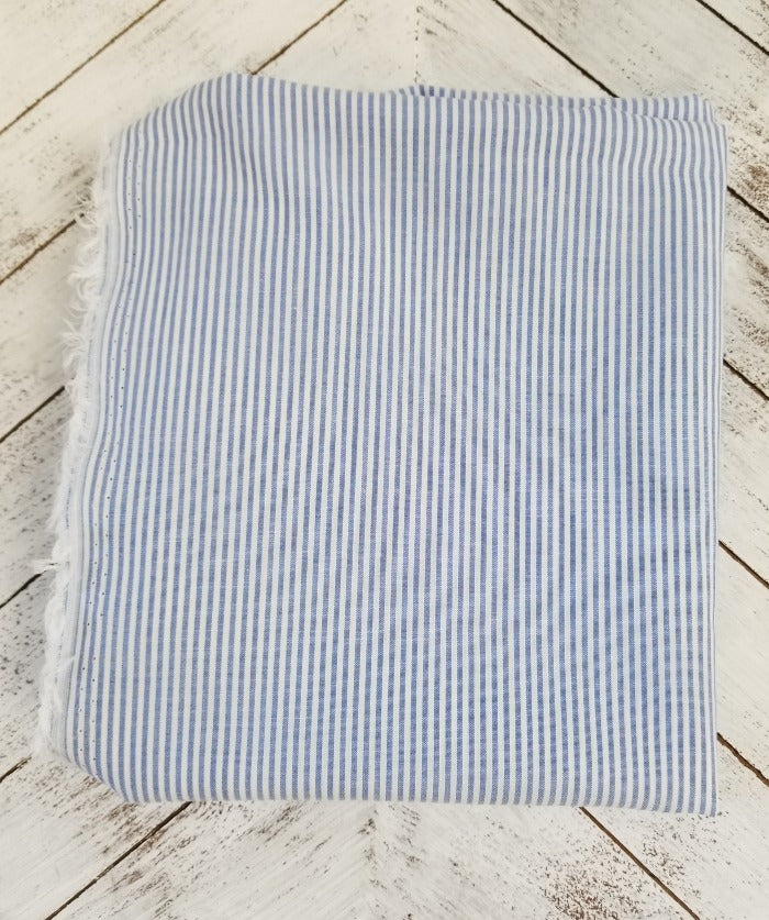 Famous Maker Micro Stripe Chambray Hue and Ivory Vertical Stripe Rayon Lawn- By the Yard