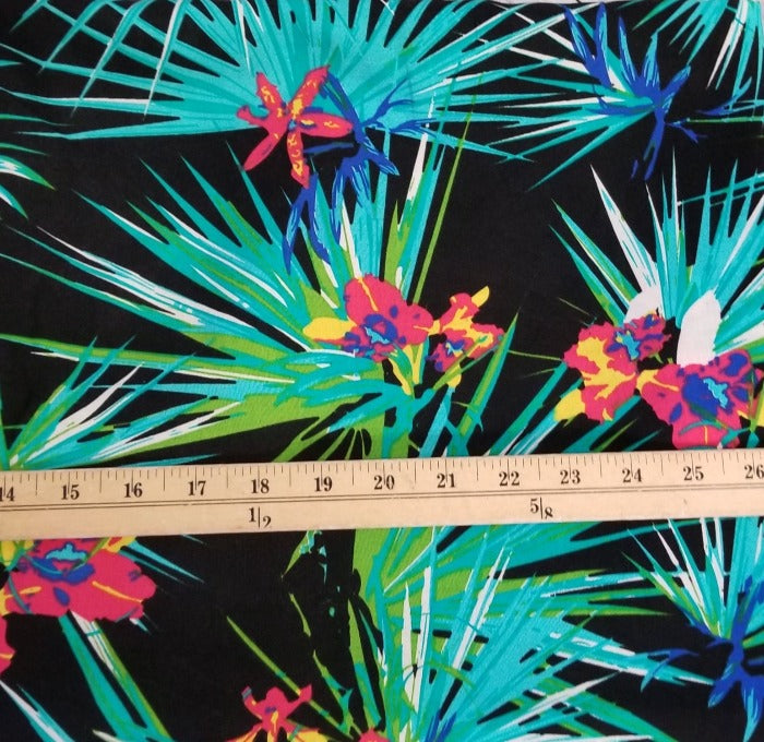Fashion Tropical Black Rayon Challis- By the Yard