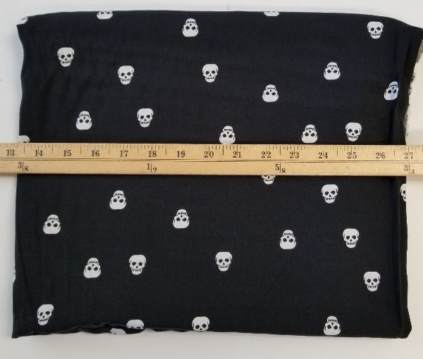 Designer Black and White Skull Rayon Challis Woven- sold by the yard