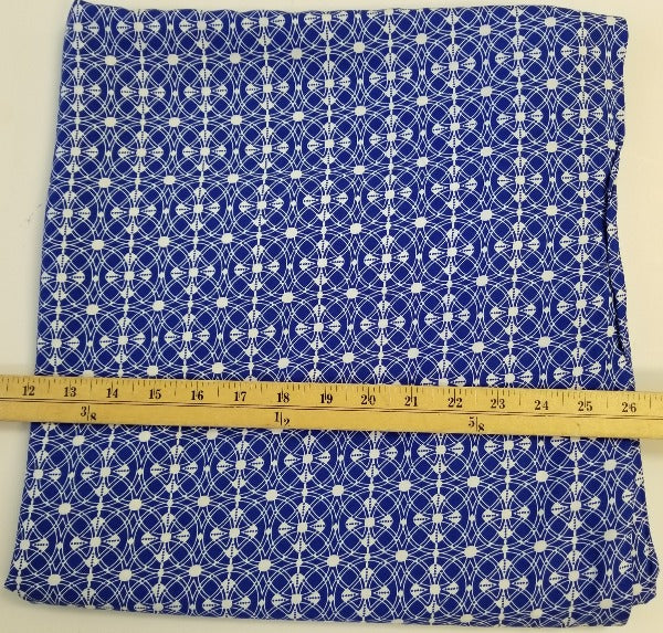 End of BOlt: 2-5/8th yards of Designer Royal Blue Medallion Rayon Challis Woven