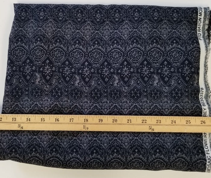 End of Bolt: 1-3/4th yards of Designer Grey and Navy Abstract Mosiac Rayon Challis Woven