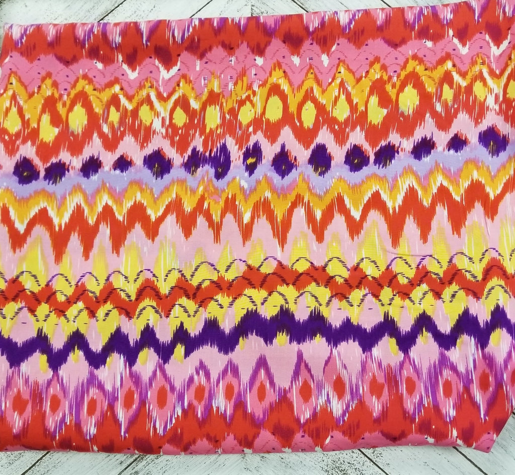 End of Bolt: 1-3/8th Yards of Vibrant Abstract Rayon Challis Woven-Remnant