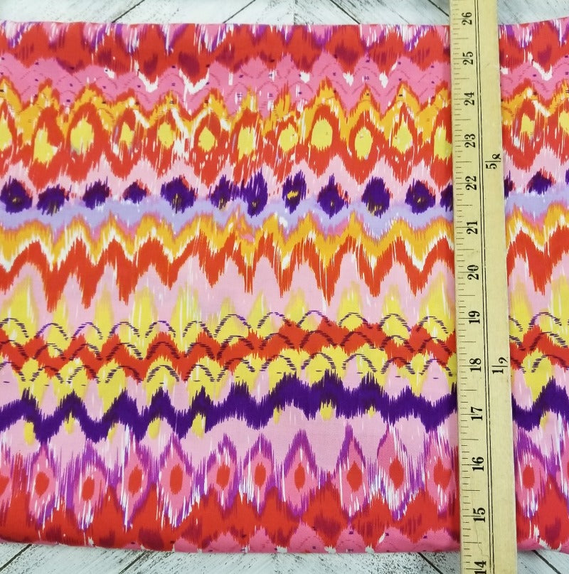 End of Bolt: 2-1/8th Yards of Vibrant Abstract Rayon Challis Woven-Remnant